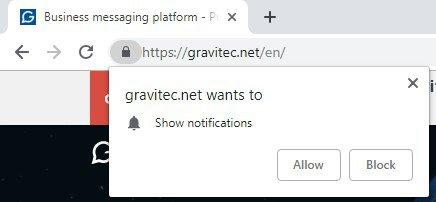 website notification pop-up